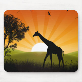 Giraffe On The Move Mouse Pad
