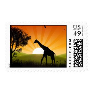 Giraffe On The Move Stamp
