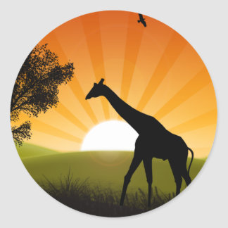 Giraffe On The Move Round Stickers