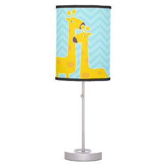 Giraffe on zigzag chevron - Aqua Blue. Table Lamp