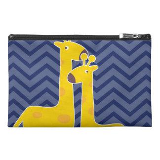 Giraffe on zigzag chevron - Blue Travel Accessory Bag