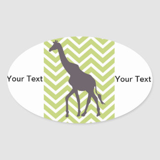 Giraffe on Zigzag Chevron - Green and White Oval Sticker