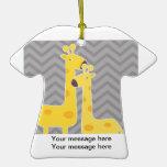 Giraffe on zigzag chevron - Grey Christmas Tree Ornaments