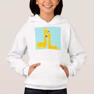 Giraffe on zigzag chevron - Pastel Blue Hoodie