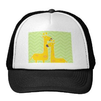 Giraffe on zigzag chevron pattern. trucker hat