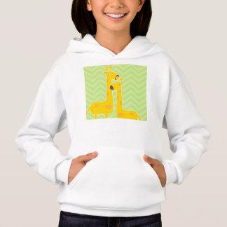 Giraffe on zigzag chevron pattern. hoodie