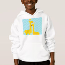 Giraffe on zigzag chevron pattern - Pastel Blue Hoodie
