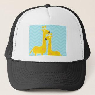 Giraffe on zigzag chevron pattern - Pastel Blue Trucker Hat