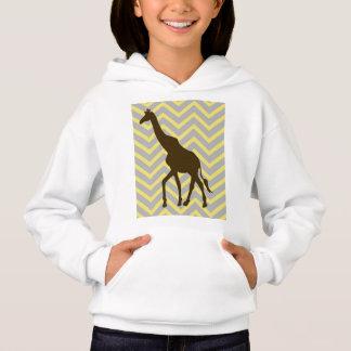 Giraffe on Zigzag Chevron - Yellow and Grey Hoodie