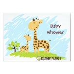 Giraffe Organic Planet Baby Shower Invitaitions 4.5x6.25 Paper Invitation Card