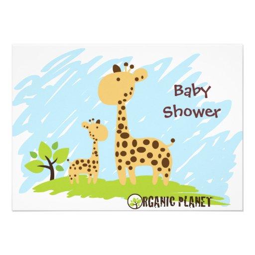 giraffe organic planet baby shower invitaitions invitations zazzle