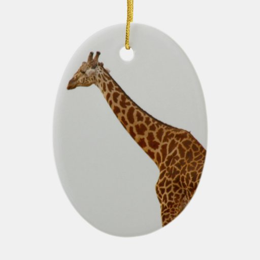 Giraffe Double-Sided Oval Ceramic Christmas Ornament