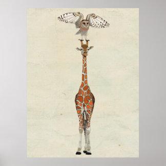 GIRAFFE & OWL Art Poster
