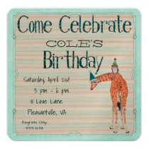 GIRAFFE & OWL  Birthday Invitation