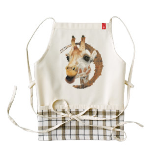 Giraffe Painting with Faux Gold Circle Frame Zazzle HEART Apron