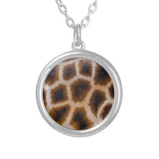 Giraffe Patches Spotted Skin Texture Template Silver Plated Necklace