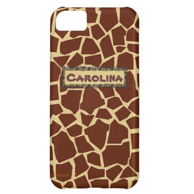 Giraffe Pattern Animal Print Custom Name iphone 5