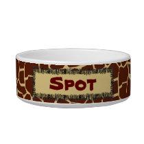 Giraffe Pattern Animal Print Personalized Pet Bowl