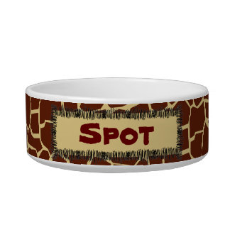 Giraffe Pattern Animal Print Personalized Pet Bowl Cat Water Bowl