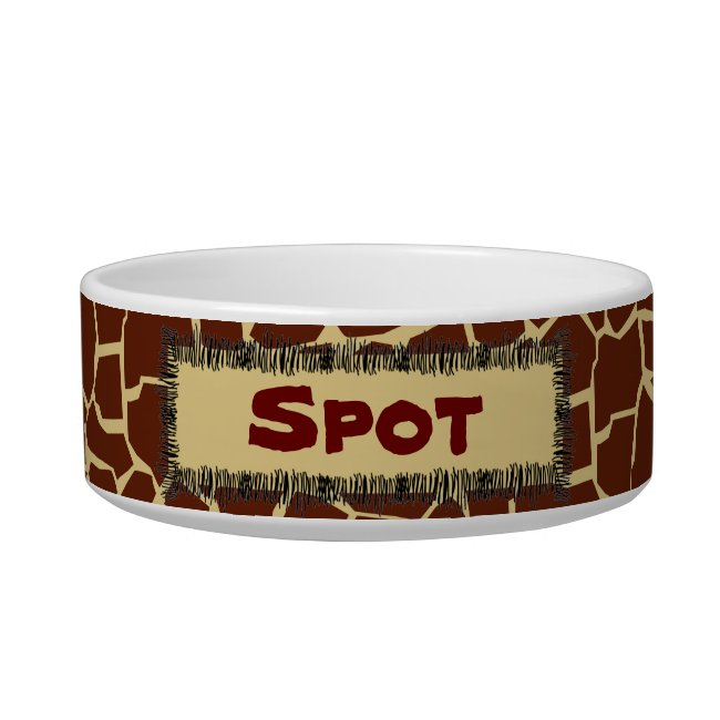 Giraffe Pattern Animal Print Personalized Pet Bowl