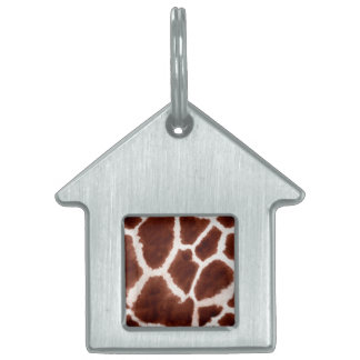 Giraffe Pattern Animal Print Pet Name Tag