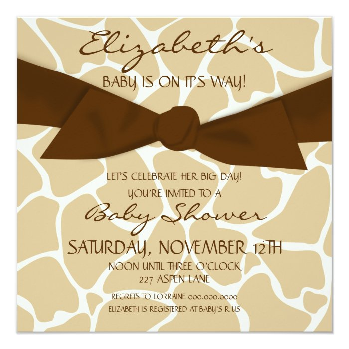 Giraffe Pattern Baby Shower Invite with Brown Bow