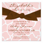 "Giraffe Pattern Baby Shower Invite with Brown Bow 5.25"" Square Invitation Card"