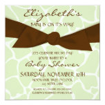 """Giraffe Pattern Baby Shower Invite with Brown Bow 5.25"""" Square Invitation Card"""
