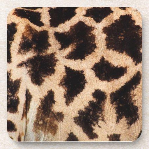Giraffe pattern beverage coasters