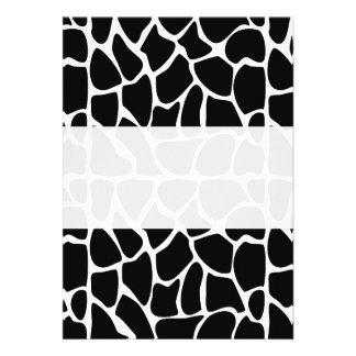 Giraffe Pattern Black & White Personalized Invite