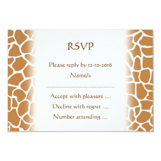 Giraffe Pattern Brown Animal Print Design. 3.5x5 Paper Invitation Card