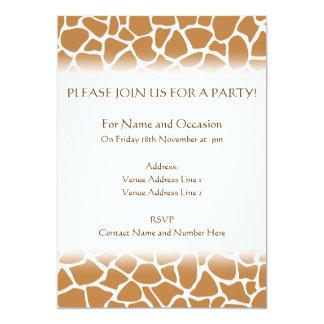 Giraffe Pattern Brown Animal Print Design. 5x7 Paper Invitation Card