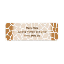 Giraffe Pattern Brown Animal Print Design. Label