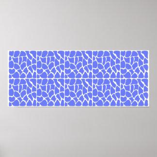 Giraffe Pattern. Cornflower Blue. Posters