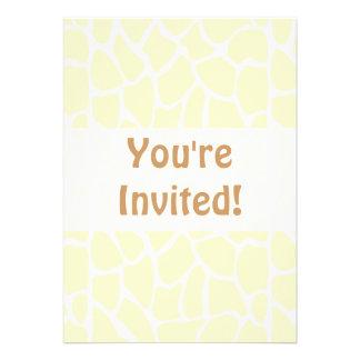 Giraffe Pattern. Cream Color Personalized Invite