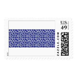 Giraffe Pattern. Dark Blue. Postage Stamp