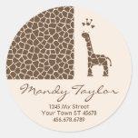 Giraffe Pattern Envelope Seal (Brown) Classic Round Sticker