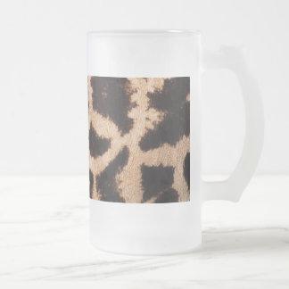 Giraffe pattern frosted glass beer mug