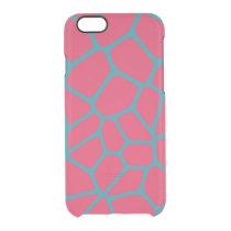 Giraffe Pattern Fuchsia Clear iPhone 6/6S Case