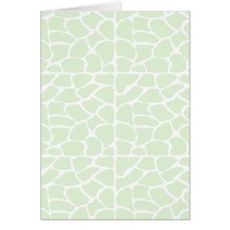 Giraffe Pattern. Mint Green. Greeting Card
