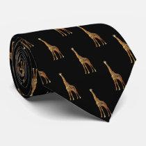 Giraffe Pattern On Black Tie