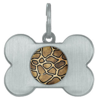 GIRAFFE PATTERN PET NAME TAG