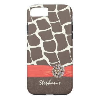 Giraffe Pattern Printed Ribbon and Rhinestone iPhone 7 Case