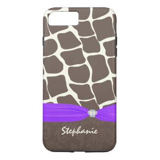 Giraffe Pattern Printed Ribbon and Rhinestone iPhone 7 Plus Case