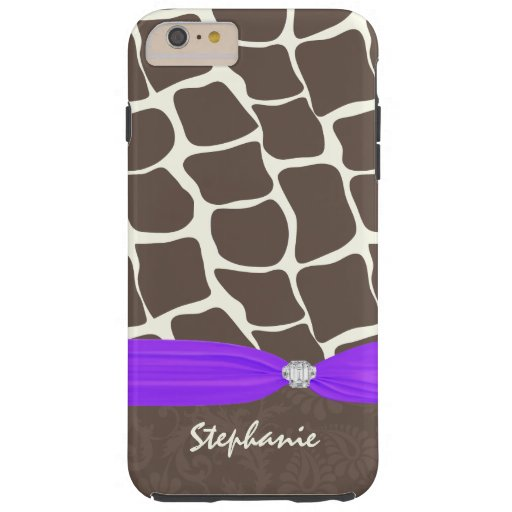 Giraffe Pattern Printed Ribbon and Rhinestone Tough iPhone 6 Plus Case