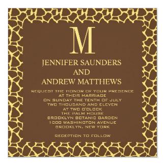 Giraffe Pattern Wedding Invitation with Monogram