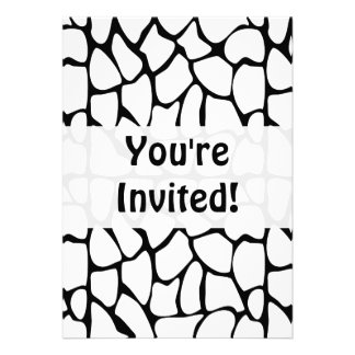 Giraffe Pattern. White and Black. Personalized Announcement