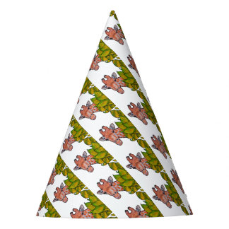 Giraffe Peeking From Behind Leaves, Whimsical Art Party Hat