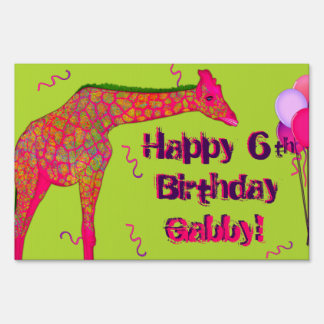 Giraffe-Personalized Birthday Sign Template Large