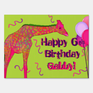 Giraffe-Personalized Birthday Sign Template Med.